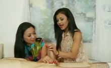 Mother teaches sexy daughter how to suck cock on customer.