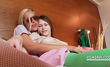 Playful Sasha rubbing her lesbian GFs boobs in bed