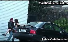 Horny couple fuck in public