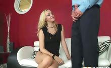 Blonde Annette Schwarz gets her pink hole examined