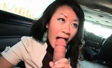 Asian cutie fellating monster dick in the bus