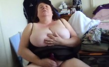 Big-breasted older woman loves being watched while masturba